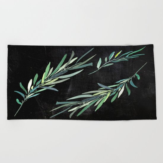 Eucalyptus leaves on chalkboard Beach Towel