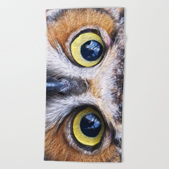 Big Eye Owl Beach Towel