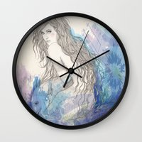 pisces Wall Clocks featuring Pisces by katiwo
