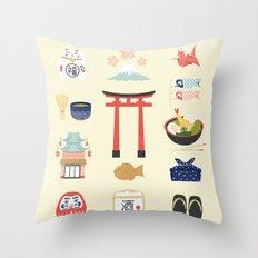 Japan Icons Illustration : PAST Throw Pillow
