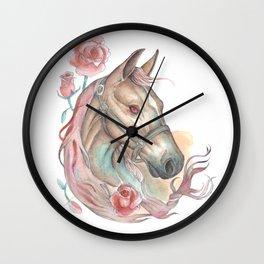Horse & Roses- Watercolor Art Painting Wall Clock