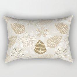 Neutral Color Tropical Leaf Pattern Rectangular Pillow