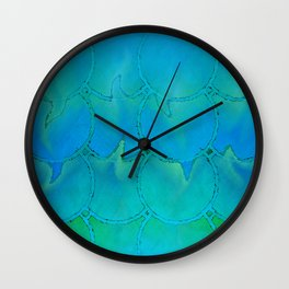 Mermaid Scales Blue Green Light 2 Wall Clock