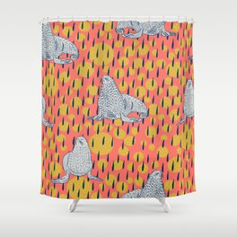 Seals on Coral Shower Curtain