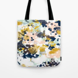 Sloane - Abstract painting in modern fresh colors navy, mint, blush, cream, white, and gold Tote Bag
