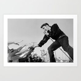 elvis-presley-poster-canvas-with-fans-singing-the-king-of-rock-n-roll-printed-picture-wall-art-decoration-poster-or-canvas-ready-to-hang-prints Art Print