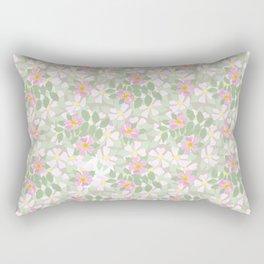 Pink Dogroses on Taupe Rectangular Pillow