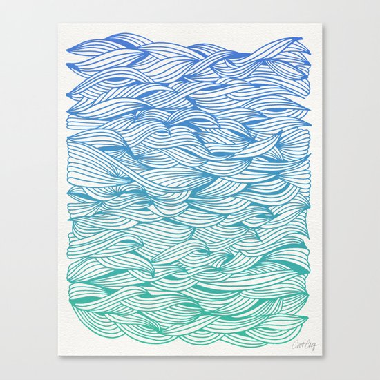 Ombré Waves Canvas Print