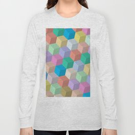 Pastel Colored Perspective Cubes Long Sleeve T-shirt