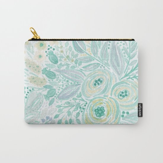 Watercolor . Flower meadow . 2 Carry-All Pouch