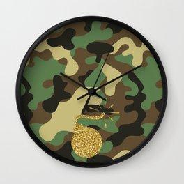 CAMO & GOLD GLITTER BOMB DIGGITY Wall Clock
