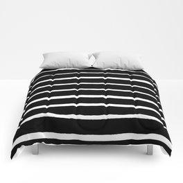 Rough White Thin Stripes on Black Comforters
