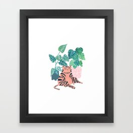 Fat Plant Kitty Framed Art Print