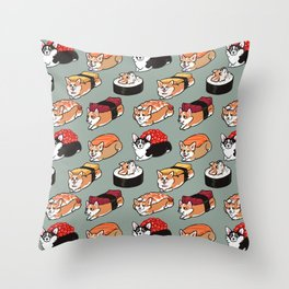 Sushi  Corgi Throw Pillow