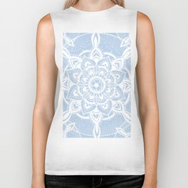 Simple White Mandala Biker Tank