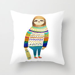 Hipster sloth skateboarder Throw Pillow
