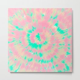 Modern boho hippie hand painted pink turquoise orange tie dye watercolor Metal Print