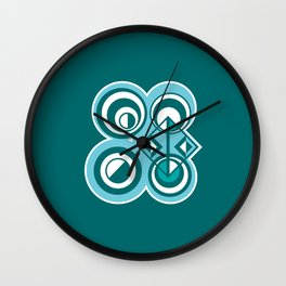 Striped Blue White and Teal Falling Eccentric Circles Abstract Art Wall Clock