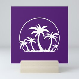 Palm Trees And Sunset in White Mini Art Print