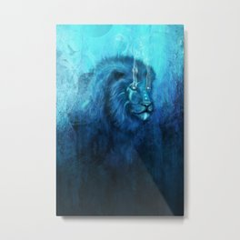 Blue Spirit Lion Metal Print
