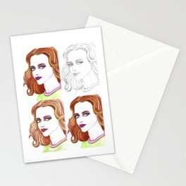 Fashion Illustration Portrait Watercolorpencil Stationery Cards