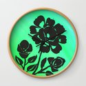 Green Silhouette Roses Varigated Background Acrylic Art by lcapplingphotoart