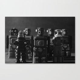 Robot Crew - Black & White Canvas Print