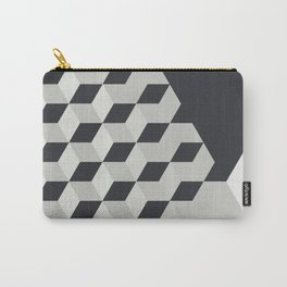 Gradient Cubes – Ebony Black / Warm Gray Abstract Print Carry-All Pouch