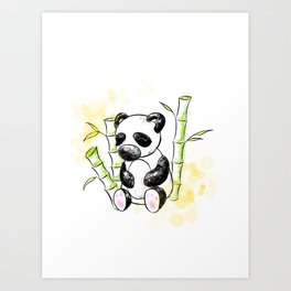 Digital Charcoal Panda (with golden lights) Art Print