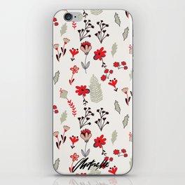 Red Vintage Floral Pattern iPhone Skin