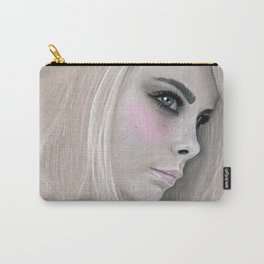 Cara Fashion Illustration Portrait Carry-All Pouch