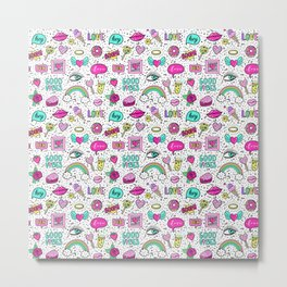 Funny patches, cute pattern Metal Print
