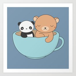 Kawaii Cute Brown Bear and Panda Art Print