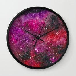 Deep pink, purple, and red galaxy Wall Clock