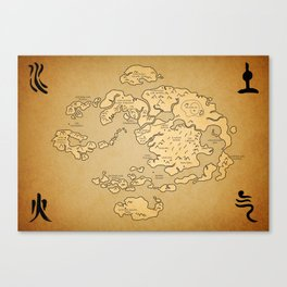 Avatar Last Airbender Map Canvas Print