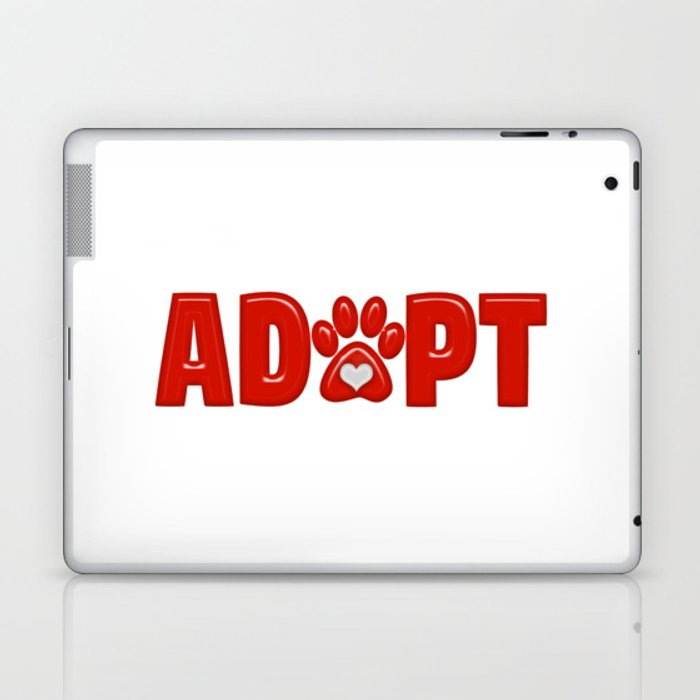 Shiny Red ADOPT Animal Paw Print with  White Heart Laptop & iPad Skin