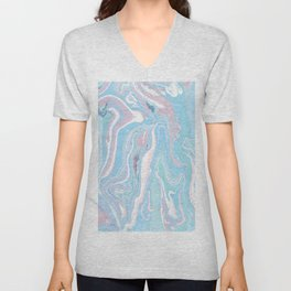 Blue aqua teal prim pink watercolor abstract marble Unisex V-Neck