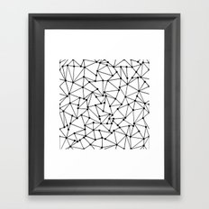 Ab Out Lines With Spots White Framed Art Print
