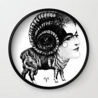 aries Wall Clocks featuring Aries by Carolina Espinosa