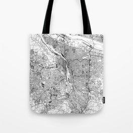 Portland White Map Tote Bag