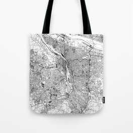 Portland White Map Tote Bag