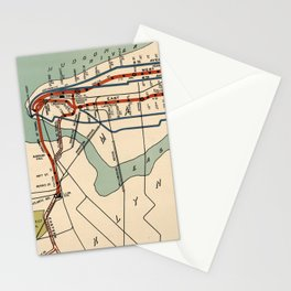 Vintage NYC Subway Map (1918) Stationery Cards