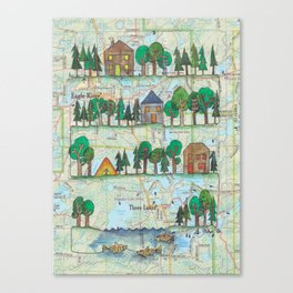 """Eagle River, WI """"Up North""""Continuous Line Drawing on vintage map Canvas Print"""
