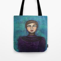 introvert Tote Bags featuring Introvert by Leanne Schuetz Mixed Media Artist