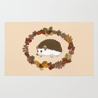 kawaii Area & Throw Rugs featuring Kawaii hedgehog by Pendientera