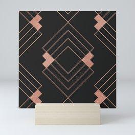 Abstract geometrical black pink rose gold triangles Mini Art Print