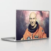 picard Laptop & iPad Skins featuring Captain Picard - Astronaut in Space by Nicholas Redfunkovich