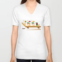 alpaca V-neck T-shirts featuring Alpaca Sushi by Inappropriately Adorable