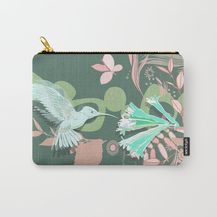 Hummingbird leaf tangle, green pale pink Carry-All Pouch