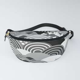 Nature background with japanese sakura flower, Cherry, wave circle Black gray white colors Fanny Pack